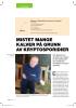 MISTET MANGE KALVER PÅ GRUNN AV KRYPTOSPORIDIER