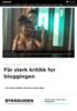 Får sterk kritikk for bloggingen